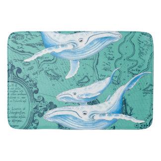 Blue Whales Family Teal Bath Mat