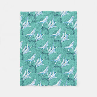 Blue Whales Family Teal Fleece Blanket