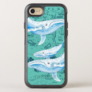 Blue Whales Family Teal OtterBox Symmetry iPhone 8/7 Case