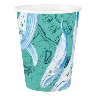 Blue Whales Family Teal Paper Cup