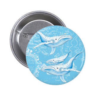 Blue Whales Family Vintage 2 Inch Round Button