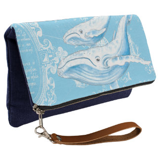 Blue Whales Family Vintage Clutch