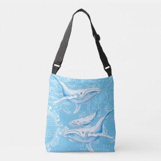 Blue Whales Family Vintage Crossbody Bag