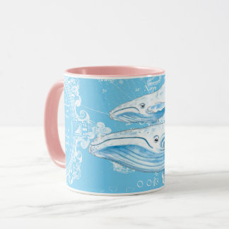 Blue Whales Family Vintage Mug