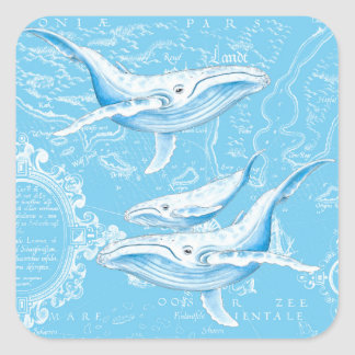 Blue Whales Family Vintage Square Sticker