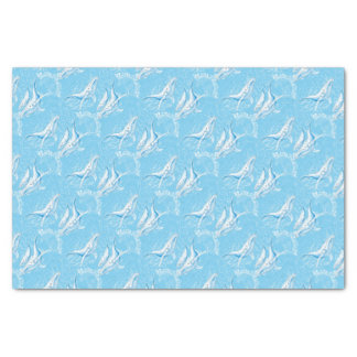 Blue Whales Family Vintage Tissue Paper