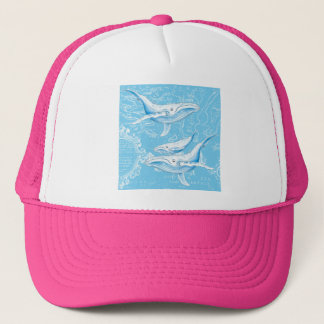 Blue Whales Family Vintage Trucker Hat