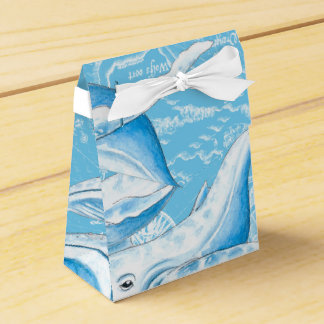 Blue Whales Family Vintage Wedding Favor Box