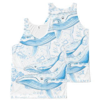 Blue Whales Family White All-Over-Print Tank Top