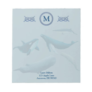 Blue Whales with Monogram Notepads