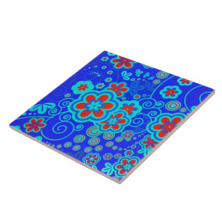 Blue Whimsical Garden Tile