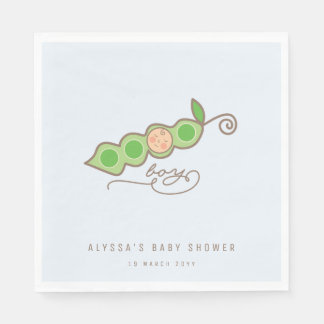 Blue Whimsical Pea in a Pod Boy Baby Shower Party Disposable Napkin