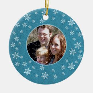 Blue Whimsical Snowflakes Photo Ornament