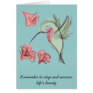 Blue Whimsy Hummingbird Card