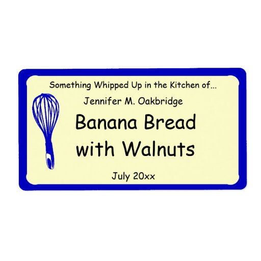 Blue Whisk Personalized Homemade Food Personalized Shipping Labels