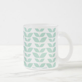 Blue White Abstract Leaf Pattern Coffee Mugs