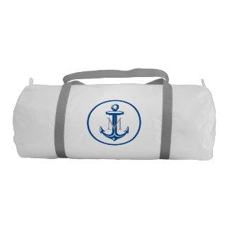 Blue White Anchor and Monogram Gym Bag