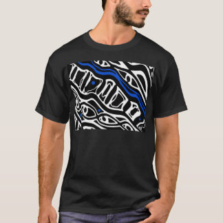 Blue, white and blac abstract art T-Shirt
