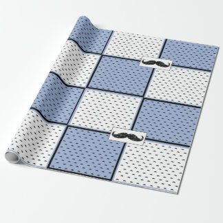 Blue, White and Black Mustache Wrapping Paper
