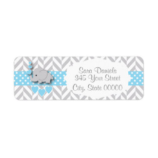 Blue, White and Gray Elephant Baby Shower