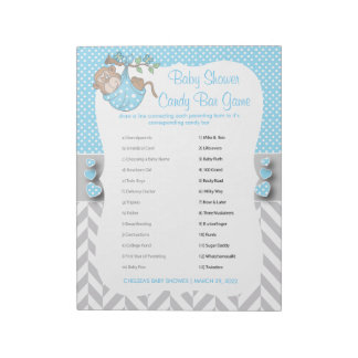 Blue, White and Gray Monkey Baby Shower - Game 2 Notepad