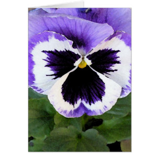 Blue, White and Purple Pansy Card