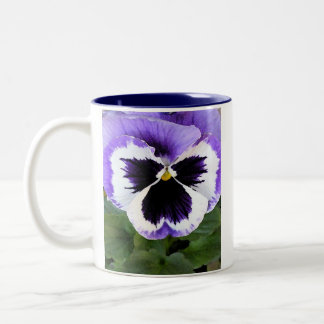 Blue, White and Purple Pansy Two-Tone Coffee Mug
