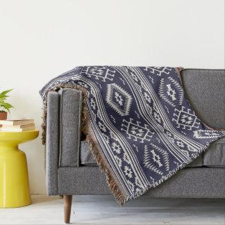 Blue white Aztec pattern throw blanket
