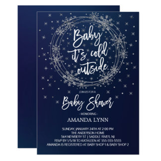 Blue & White Baby It's Cold Outside Baby Shower Card