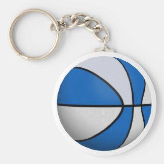 Blue & White Basketball: Basic Round Button Keychain