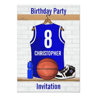 "Blue White Basketball Jersey Birthday Party 5"" X 7"" Invitation Card"