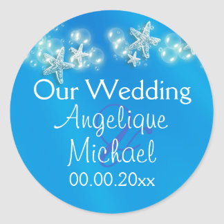 Blue white beach starfish wedding classic round sticker
