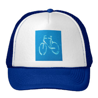 Blue White Bicycle,  Cycling Bicycles Sign Trucker Hat