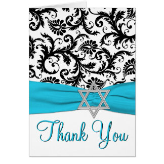 Blue, White, Black Bat Mitzvah Thank You Note Card