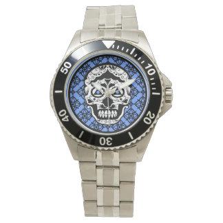 Blue White Black sugar skull damask design Watch
