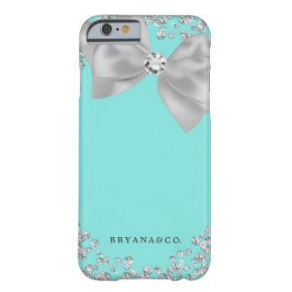 Blue & White Bling Bow Glamour Glam Custom Barely There iPhone 6 Case