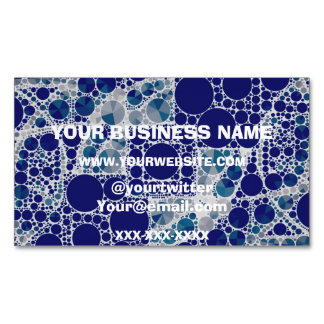 Blue White Bling Magnetic Business Card