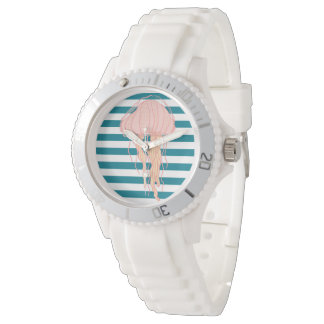 Blue White Bold Stripes Jellyfish Sports Watch