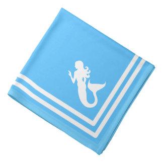 blue white border with a mermaid bandanas