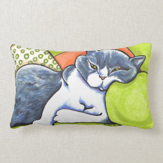 Blue White British Shorthair Cozy Off-Leash Art™ Lumbar Pillow