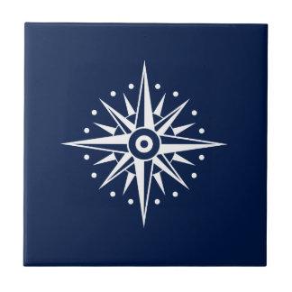 Blue & White Ceramic Tile, Nautical Star, Compass Tile