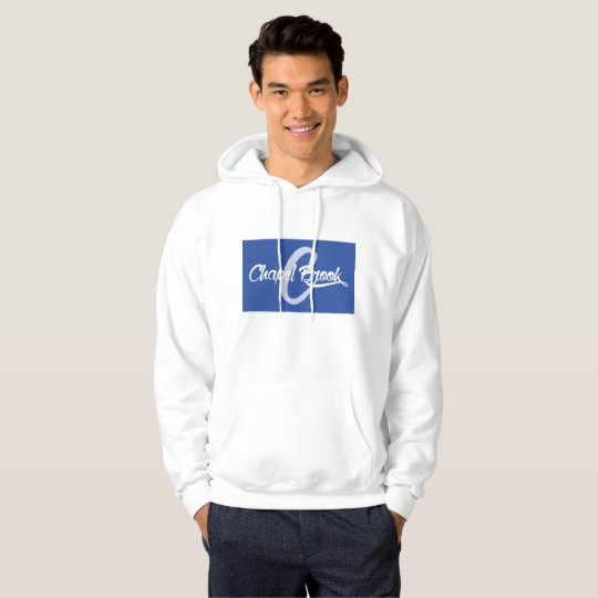 blue/white Chapel Brook logo on hooded white sweat Hoodie