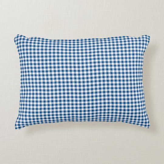 blue white check pattern accent pillow