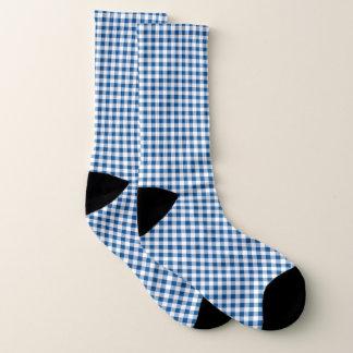 Blue white check pattern socks
