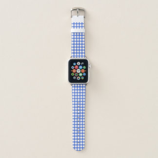 Blue & White Checker Gingham Pattern Apple Watch Band