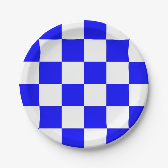 Blue/White Chequered Paper Plate