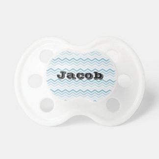 Blue White Chevron Ombre Baby Pacifier