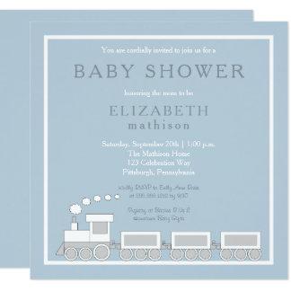 Blue | White Choo Choo Train Boy Baby Shower Card