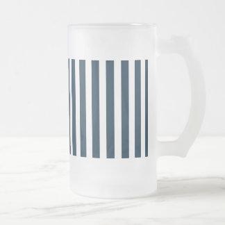 Blue & White Christmas Candy Cane Pattern Beer Mug