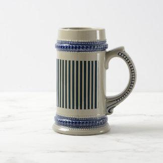 Blue & White Christmas Candy Cane Pattern Coffee Mugs